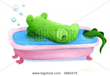 Crocodile Is Having A Bath