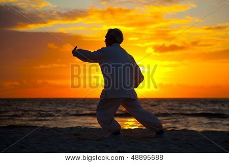 Chinese Elderly Woman Performing Taichi Outdoor by the beach under sunset sunrise silhouette