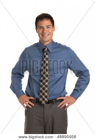 Young Businessman Standing Smiling on Isolate White Background
