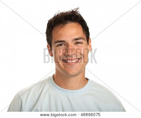 Casual Dressed Happy College Student Headshot Isolated on White Background