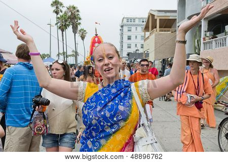 Venice Beach - August 4: Woman Disciple Dancing On The Streets During The 37Th Annual Festival Of Th
