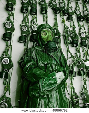 Old Military Gas On A Chemical Protective Suit Woman Green