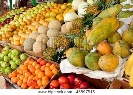 Colorful Fresh Fruit On Display At Atlanta Farmers Market