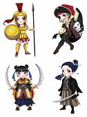 stock photo of japan girl  - Warriors girl from various culture set 1 create by vector - JPG