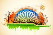 image of indian flag  - illustration of Indian citizen waving flag on tricolor flag - JPG