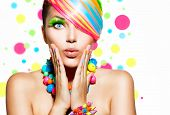 stock photo of nail  - Beauty Girl Portrait with Colorful Makeup - JPG