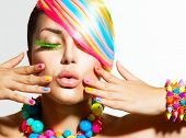 image of vivid  - Beauty Girl Portrait with Colorful Makeup - JPG
