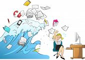 stock photo of multitasking  - Tidal wave of workload in the office  - JPG