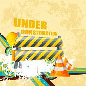 stock photo of safety barrier  - illustration of under construction background with road barrier - JPG