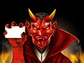 picture of grotesque  - Devil holding a blank sign as a red demon halloween monster character with a devilish evil grin wearing a cape as a spooky concept with a communicating horned beast creature - JPG