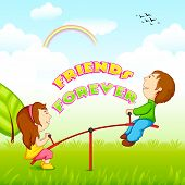 image of seesaw  - vector illustration of kids riding on seesaw for Friendship Day - JPG