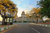 foto of vidhana soudha  - sunset at Vidhana Soudha the state legislature building in Bangalore India - JPG