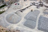 stock photo of sand gravel  - Aerial view of a gravel pit in Phoenix Arizona - JPG