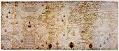 stock photo of treasure map  - Medieval map of the world. Photo from old reproduction