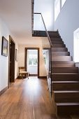 stock photo of staircases  - View of wooden staircase and floor in house - JPG