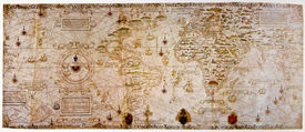 image of treasure map  - Medieval map of the world. Photo from old reproduction ** Note: Slight graininess, best at smaller sizes - JPG