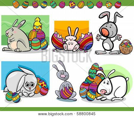 Easter Themes Set Cartoon Illustration
