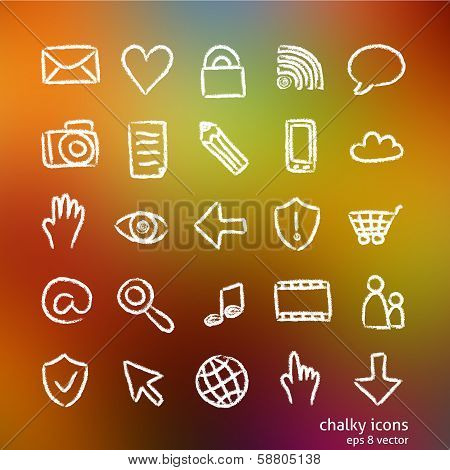 Chalky Hand-drawn Icons
