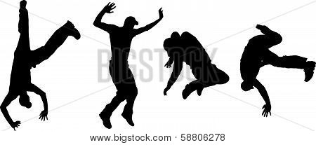 Vector silhouettes of dancing people