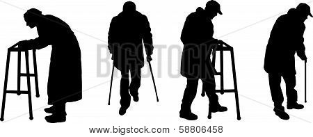 vector silhouette old people