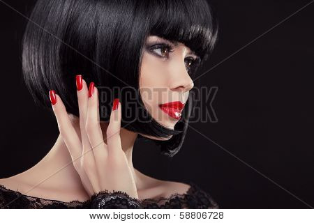 Bob Short Black Hairstyle. Manicured Nails And Red Lips. Fashion Beauty Brunette Woman Portrait.