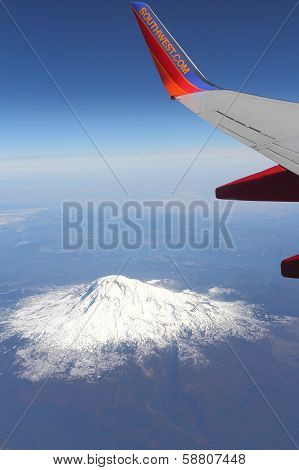 Southwest Airlines over Mount St. Helens