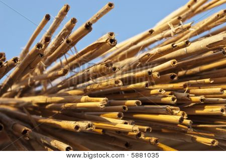 Background In The Form Of A Straw And Bamboo Bunch