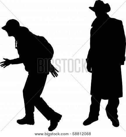 Black vector silhouette men