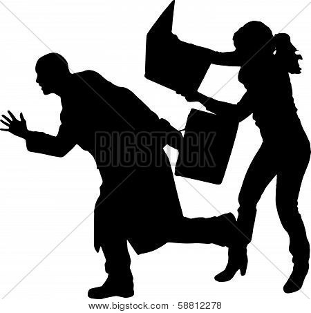 Vector silhouettes man and women on a white background.