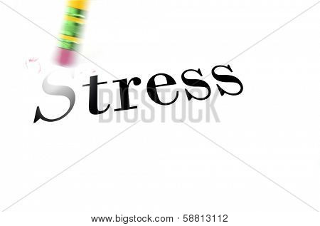 Person using a pencil eraser to erase Stress from their life so they can start new