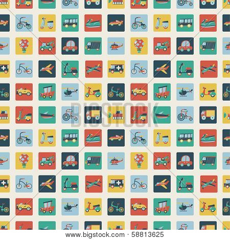 Retro Flat Transport Seamless Pattern
