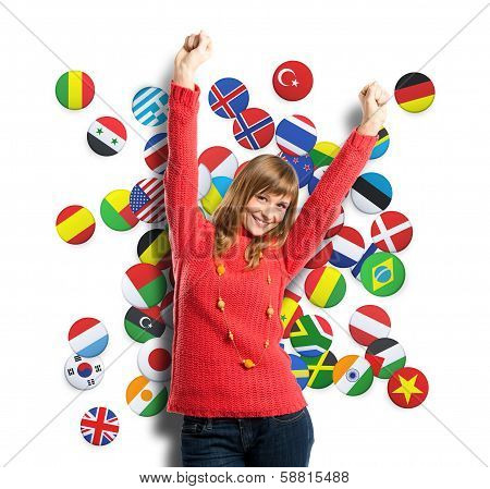 Young Woman Winner Over Background With Flags