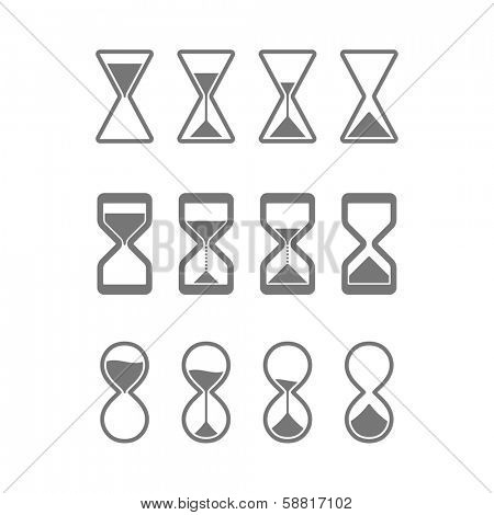 Hourglass, sandglass icons. Vector.
