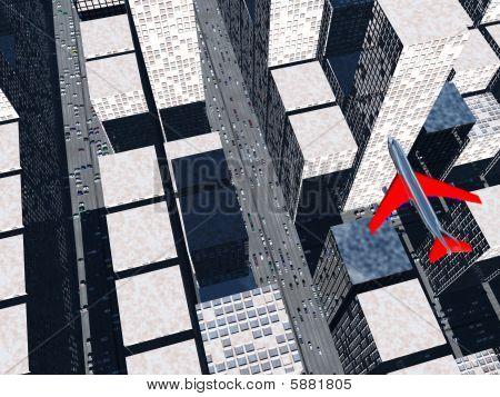 Plane Over Cityscape
