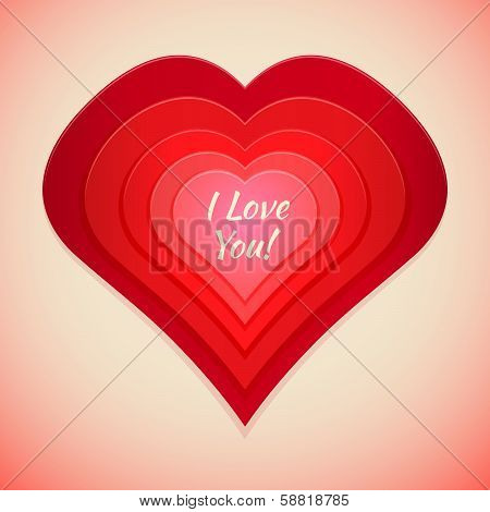 red abstract heart label