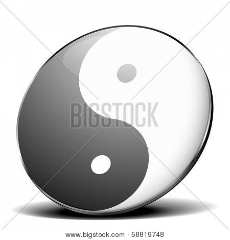 detailed illustration of yin yang symbol with metal frame