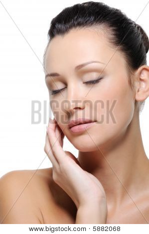 Beauty Woman Face With Closed Eyes