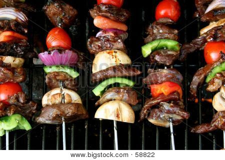 Top View Of BBQ Sticks