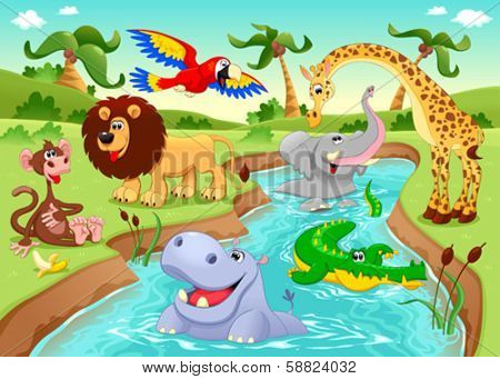 African animals in the jungle. Cartoon and vector illustration.