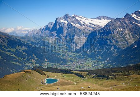 Famous village Grindelwald in swiss alps - starting point for train tours in the Jungfrau region
