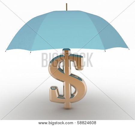 sign of dollar with an umbrella. 3d illustration on white isolated background.