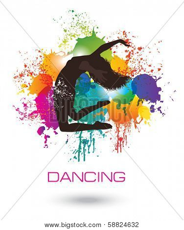 Dancing Woman. Colorful dancing concept 2.