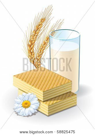 Waffles and milk illustration