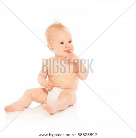 Happy Beautiful Baby In A Diaper Isolated