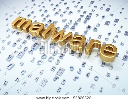 Privacy concept: Golden Malware on digital background