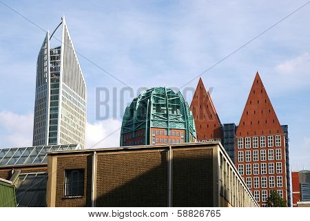 The modern buildings in The Hague