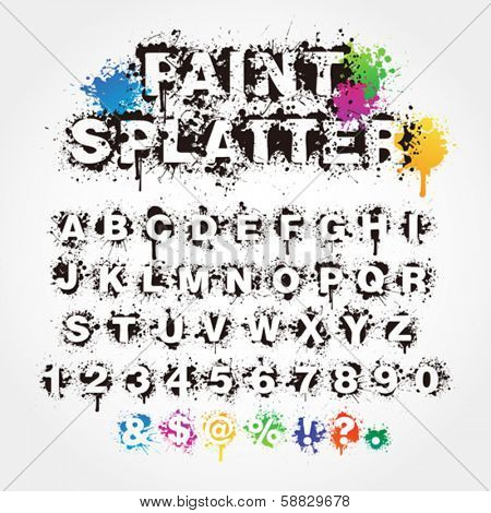 Paint splatter alphabet
