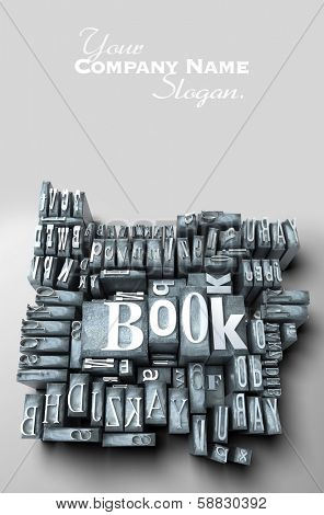 3D rendering of the word book among other words formed with print letter cases