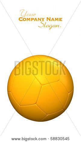 3D rendering of a yellow soccer ball against a white background