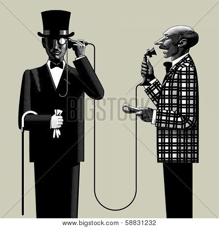 Isolated raster version of vector image in the style of vintage engraving of two men of business in retro suits connected with the retro phone